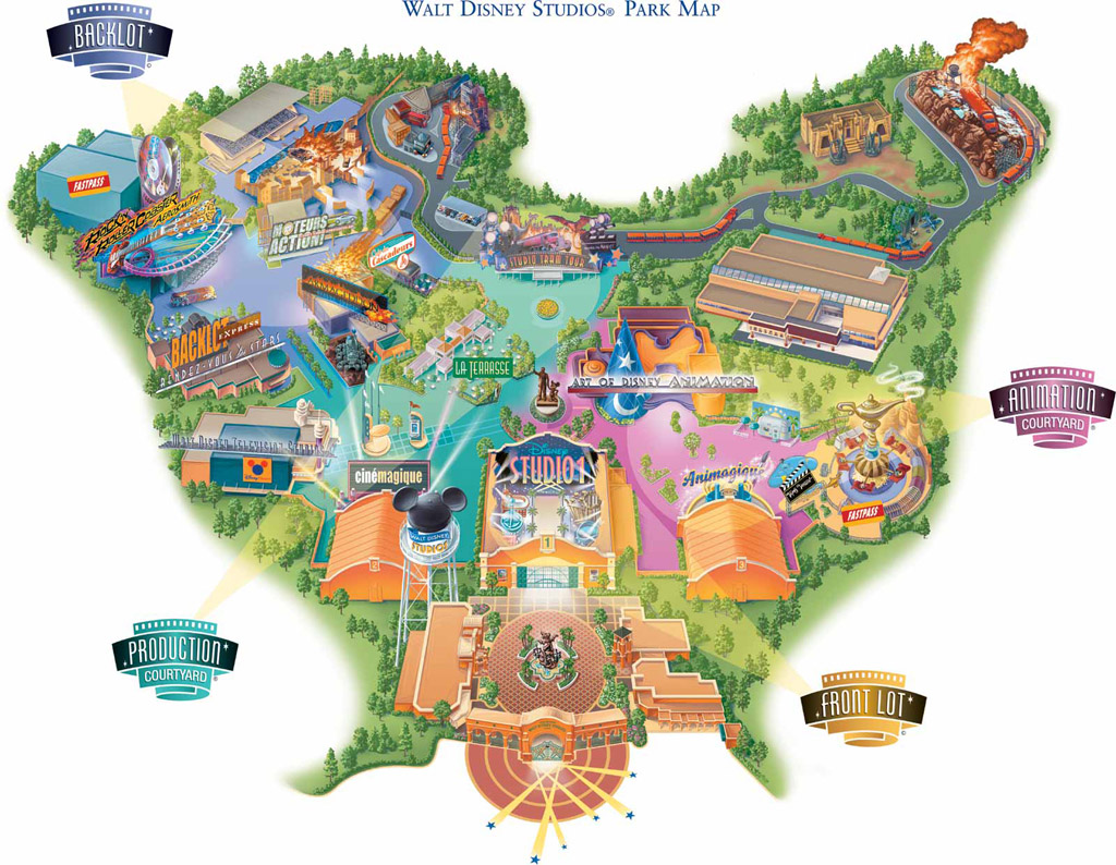 walt disney studios disneyland paris map plan 2002 ouverture opening