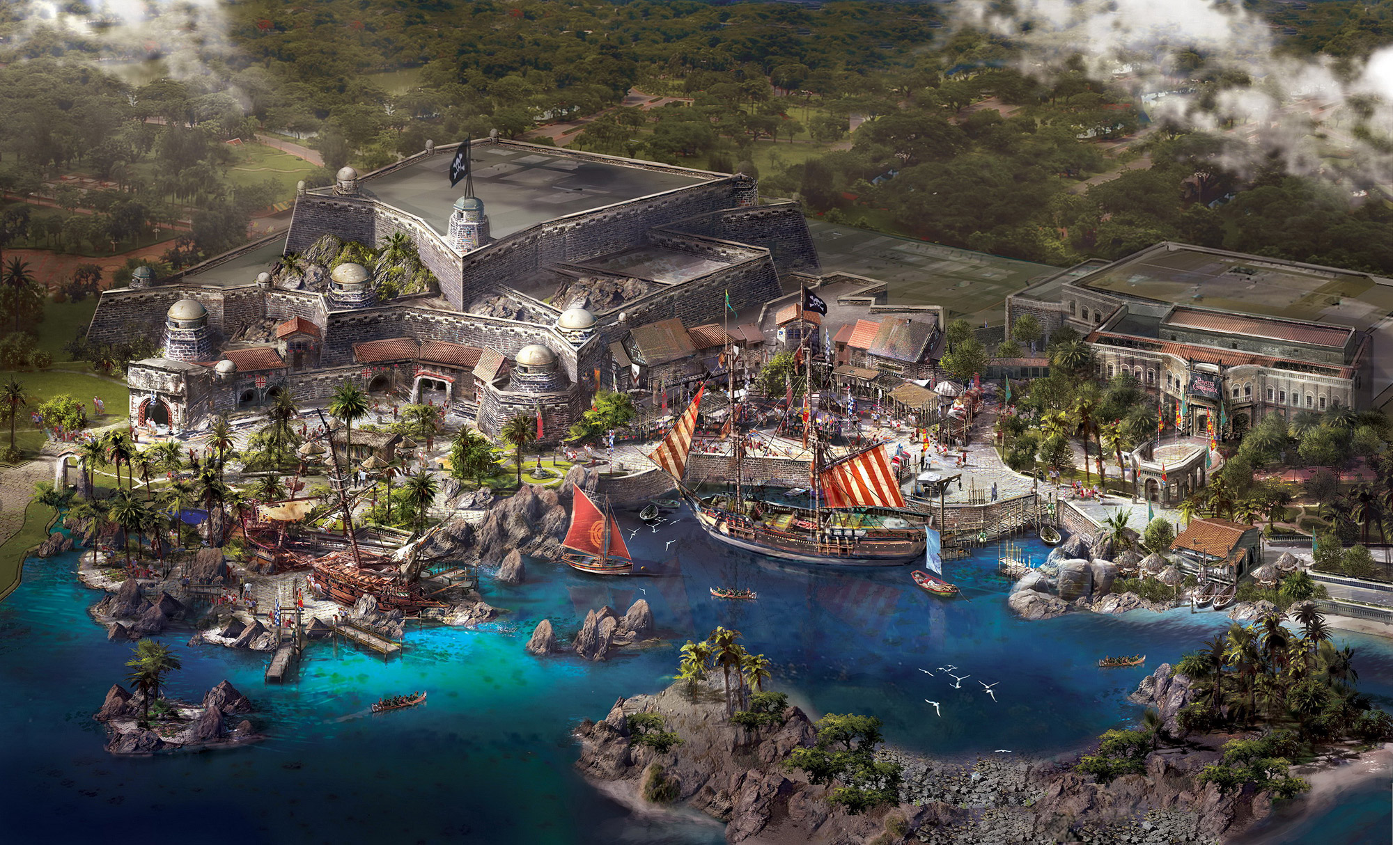 shanghai disneyland pirates of the caribbean treasure cove artwork